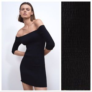 NWOT. Zara Black Stretch Mini Dress. Size S.